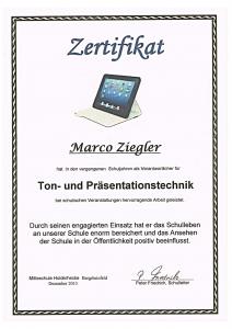 DBIS-Zertifikat Ton- und Praesentationstechnik